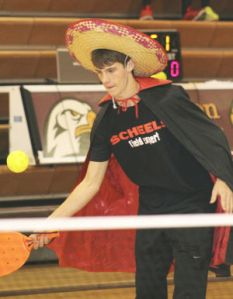 Playing pickleball in sombrero and cape - little Lucha Libre influence?