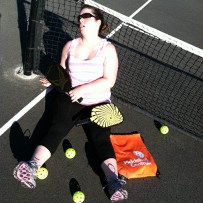 Rachel tired out from playing pickleball