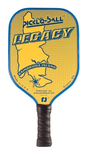 Legacy composite pickleball paddle with blue accent and edge guard