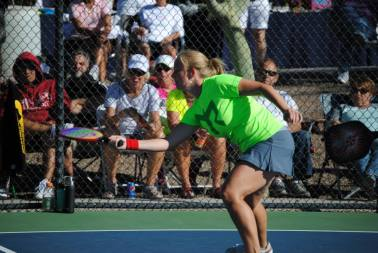 Joy Leising playing pickleball doubles