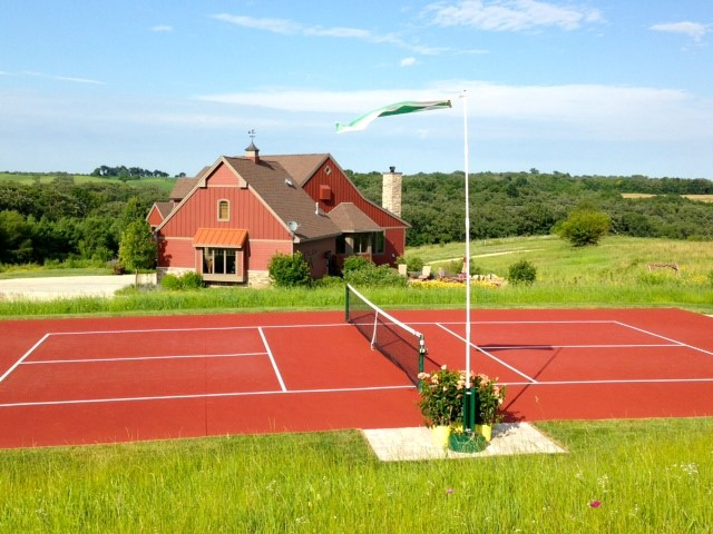Beautiful completed pickleball court in New Glarus