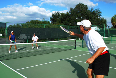 Playing pickleball in the Villages