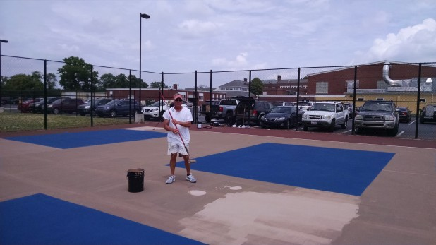 Second paint of coat on pickleball court