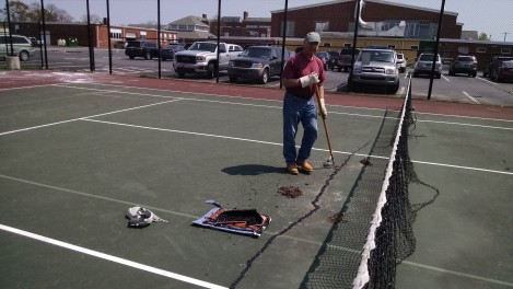 Cleaning up a soon-to-be pickleball court