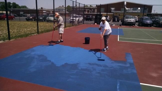 Painting pickleball court blue