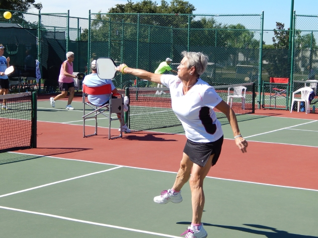 Diane Reynolds placing 1st at women's pickleball doubles