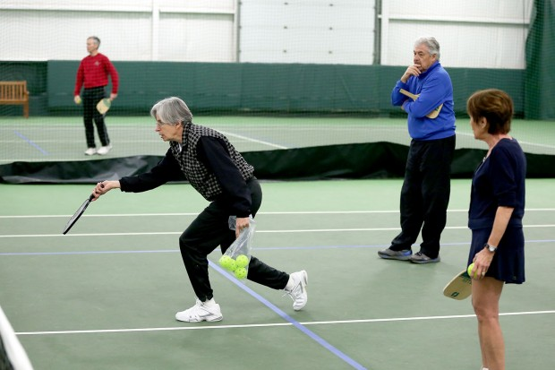 Helen White demonstrates the best way to hit a pickleball