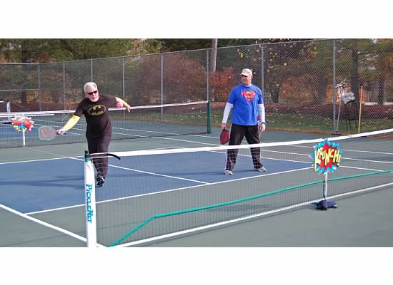 Pickleball Superman and Batman Oyster Bay Pickleball Club Tournament