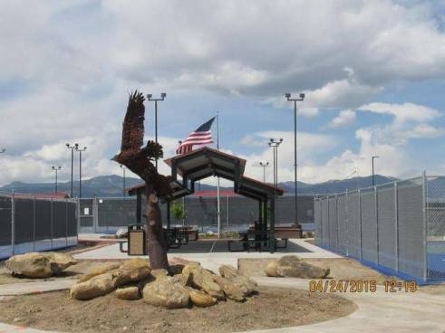 Eagle donated by Sharon and Ken Marquardt at the Outdoor Courts at Apex Center