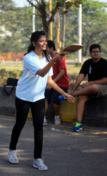 Woman playing pickleball in Navi Mumbai
