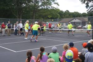 Bill Giannetti and friends demonstrating pickleball