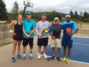 Some Sequim players had a chance to play with Jimmy Lowe from Honolulu, Hawaii. Jimmy is a distinguished racquetball player and has been playing pickleball for about four months
