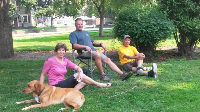 Dave, Ted and Nancy with dog