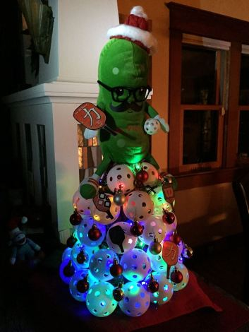 A Christmas Tree Made Out of Pickleballs