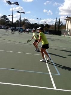 Gold Medalists, Diane Bock and Brenda Littlefield on the Pickleball court