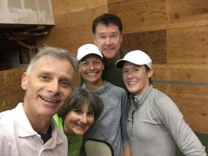Friday pickleball at Sheila's. — Steve Paranto with Sheila Schoonover, Bonnie Williams, Randy Bither and Sarah Linh Ansboury.