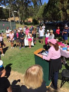 Kimberly Parker speaking to the Go Pink and Dink tournament participants.