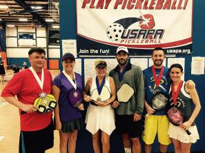 USAPA 2015 Nationals: Gold Medalists Rob and Jodi Elliott, Silver Medalists Josh and Abby Grubbs and Bronze Medalists Scott Clayson and Stephanie Lane.
