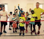 Steve Kennedy with some of his tennis summer camp kids hitting pickleballs — with George English Tennis Camp, Engage pickleball and Steve Kennedy Pickleball.