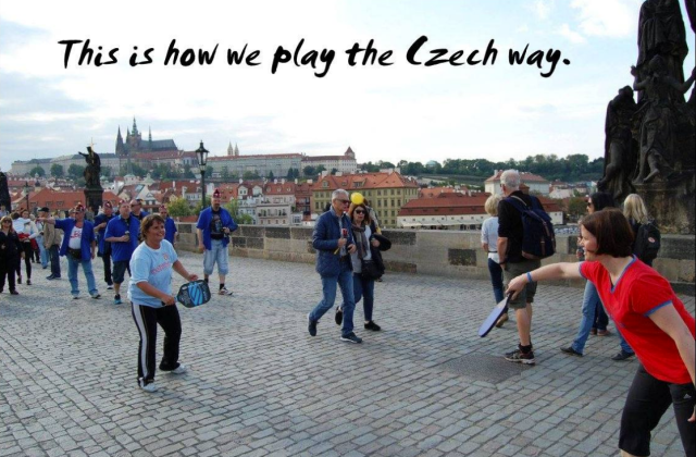Jodi and Lenka playing on Charles Bridge!