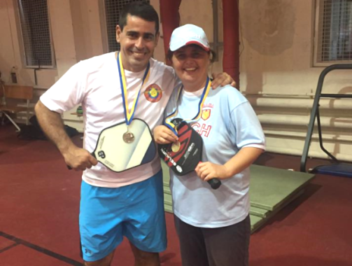 Lenka with Leonardo Gonzalez from Spain in the Kiev International Tournament