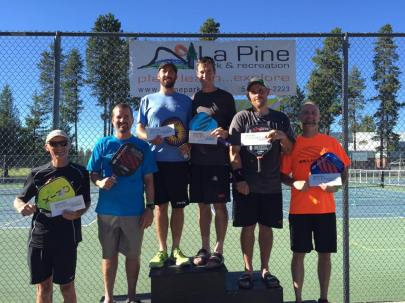 Open Men's Doubles medalists at the La Pine Frontier Days Pickleball Tournament. Gold: Wesley Gabrielsen and Robert Davidson, Silver: Shane Denning and Shayne R. Johnson, Bronze - Steve Paranto and Patrick Williams.
