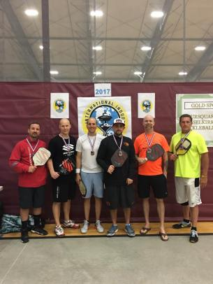 Int'l Indoor Pickleball Championship Men's Doubles age 35+ winners: Shane Denning, Nicklaus Williams (gold). Tim MacVinnie, Patrick Williams (silver). Hillbilly Spivey, Sugar Shayne R. Johnson (bronze).