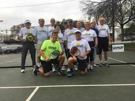 Randy Coleman and friends at a LevelUp Pickleball Camp