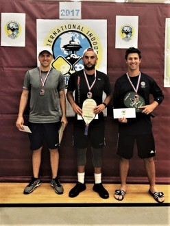2017 International Indoor Pickleball Championships: Men's singles Open. Tyson MacGuffin (gold) Nick Williams (silver) Rob Cassidy (bronze)