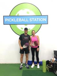Devin Shoquist with Rhonda Smith at Pickleball Station