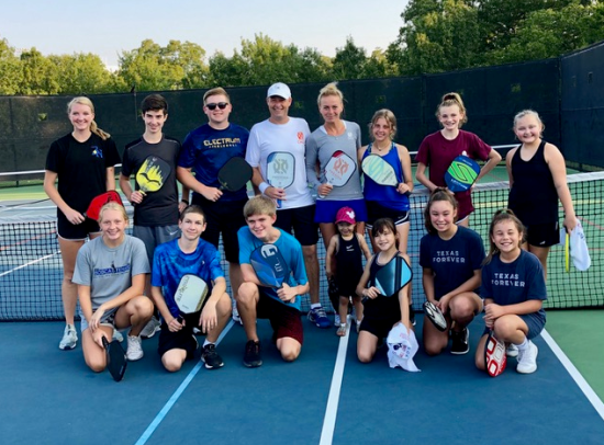 Texas Open junior players with Lucy Kovalova and Matt Wright